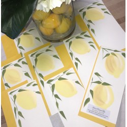 "Hand Painted Stationery: Lemons Double Sided 4"" x 9"""