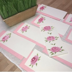 """Hand Painted Stationery: Roses Double Sided 4"""" x 9"""""""