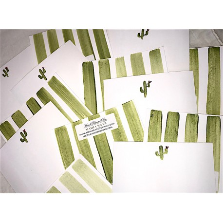 Hand Painted Stationery: Double Sided Sparkly Saguaros 10/$30.00