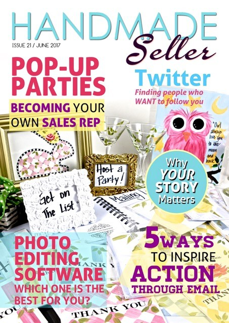 "June 2017 Hand Made Seller Magazine Feature Artist: Maria Katz Designs ""Pop Up Parties- Becoming You"